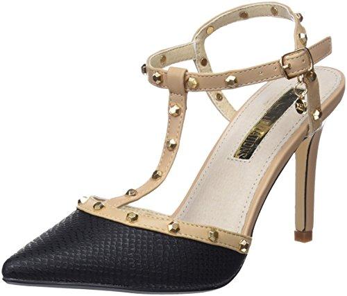 XTI 30689, Zapatos con Tacon y Tira Vertical para Mujer, Negro (Black), 38 EU