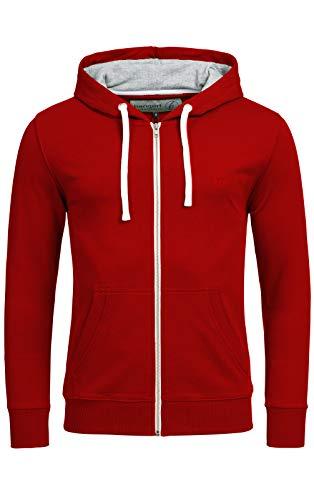 Banqert Herren Hoody, Faire Löhne, Purified Cotton, Männer Hoodie-s Kapuzenjacke-n Kapuzen-Sweater mit Reissverschluss Men, Rot Ziegelrot XL X-Large