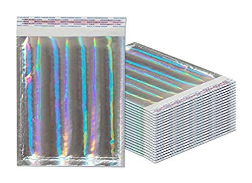 Luftpolsterversandtaschen 6,5 x 9 cm Hologramm-Kissenumschläge, 10 Stück Außengröße 8 x 9,5 Mit Haftkleber. Holographisch. Glamour Metallic Folie Versand