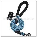 dfyjrikjso Haustierleine Hund reflektierendes Nylon rundes Seil mit Schaumgriff Hundekette blau 1,2 * 150 cm