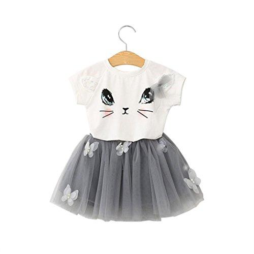 Kleid Mädchen Kolylong® 1 set (3-7 Jahre alt) Kinder Mädchen Baby Sommer Katze gedruckt Kleid Shirt + Rock Sommerkleidung Party Kleid Puff skirt (140, Weiß)