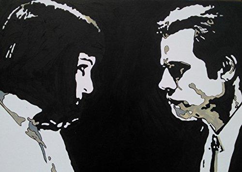 PULP FICTION MIA WALLACE E VINCENT VEGA QUADRO MODERNO - PANNELLO LEGNO MDF DIPINTO A MANO POP ART (formato 40 x 30 cm)