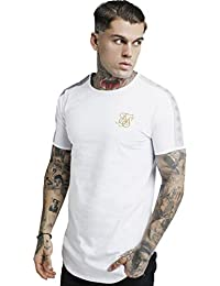 Sik Silk Hombre Camiseta con Cinta Dorada de Lurex, Blanco