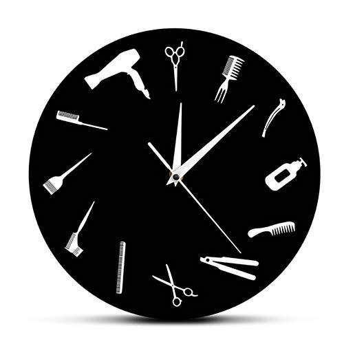 guyuell Reloj De Pared Peluquería Negocio Signo De Pared Peluquería Equiment Arte De La Pared Decoración Reloj Peluquería Herramientas De Peluquería Salón De Belleza Moderno