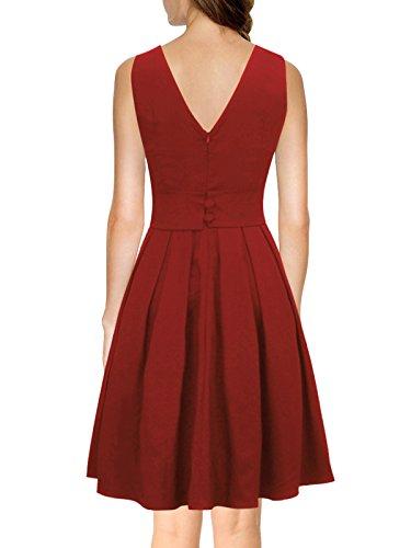 iLover Vintage Rockabilly gestreiften Kleid Hepburn Stil Partykleid Cocktailkleid 50er Jahr Abendkleid V034-WineRed