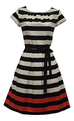 Retro 1940's 1950's schwarz weiß roten Streifen Nautisches Border Print Tee Kleid Gr. 44, multi (Multi Print Tee)