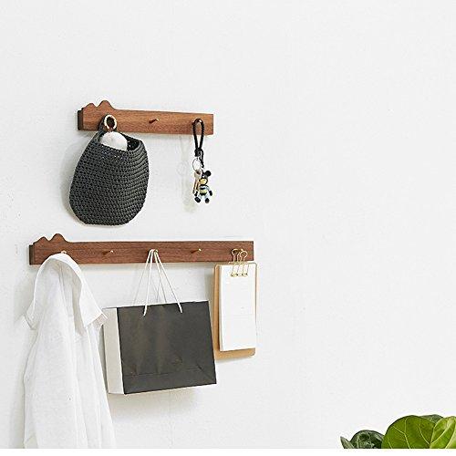NAN Porte-manteaux Bois massif Noyer Couleur Couleur du journal 3 Crochets 5 Crochets Montage mural Simple ( Couleur : Noyer Couleur , taille : Grand )