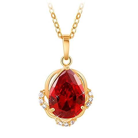 YAZILIND 18K Gold überzogene rote Wasser Tropfen hängende Halskette für Frauen