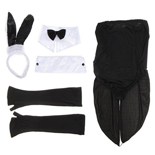 (P Prettyia Elastische Hasenkostüm Set Cosplay Kostüm Karneval Anzug Kostümparty Kleidung, Eine Größe passt für Meisten)