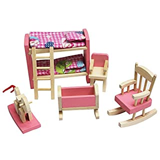 ADESHOP Early Education Baby Toys, Wooden Doll House Furniture Kid Rooom Set With Accessories For Dollhouse (A3)