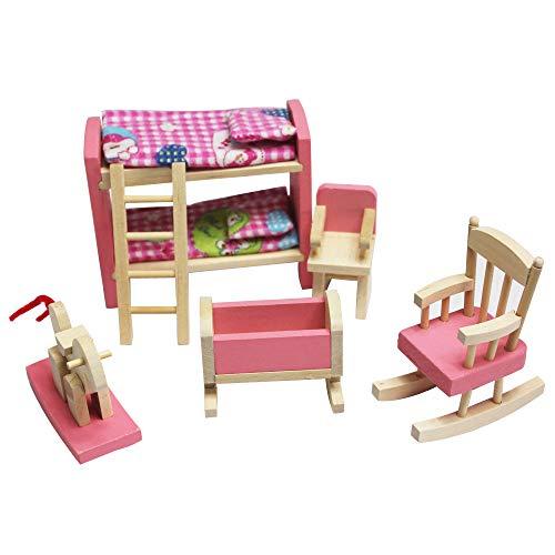 Lazzboy's Hölzernes Puppenhaus-Möbel-Set mit Zubehör für Puppenhaus( C)