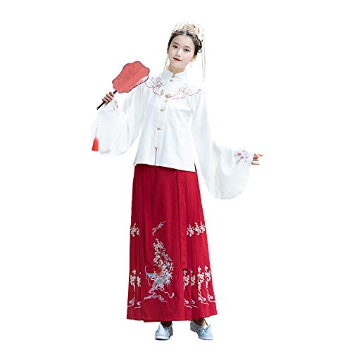 YCWY Das alte chinesische Kleid der Frauen, traditionelles gesticktes Hanfu Cosplay Kostüm, Tang Suit Traditional Vintage Langarm Cosplay Performances Rock, Halloween Weihnachten,M