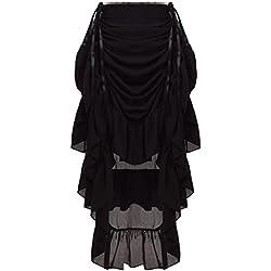 GRACEART Mujeres Victoriano Steampunk Falda Negro (Small)