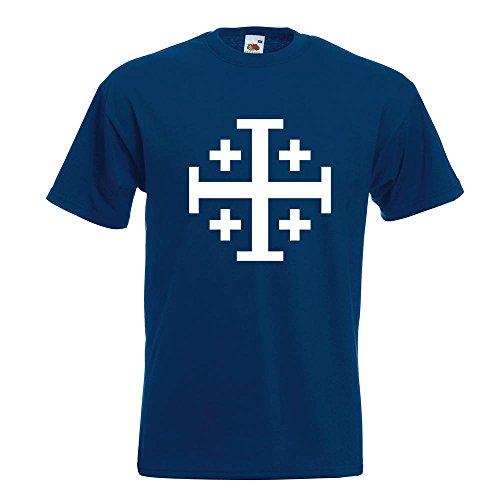 KIWISTAR - Jerusalemkreuz T-Shirt in 15 verschiedenen Farben - Herren Funshirt bedruckt Design Sprüche Spruch Motive Oberteil Baumwolle Print Größe S M L XL XXL Navy