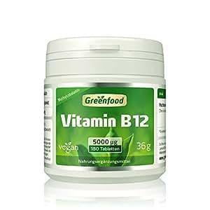 Vitamin B12 (Methylcobalamin), 5000 µg, extra hochdosiert, 180 Tabletten, vegan – für mehr Energie. Wichtig für das Nervensystem und die Blutbildung. OHNE künstliche Zusätze. Ohne Gentechnik.