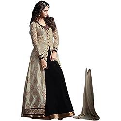 Aika Banglori Silk Fabric Embroidery Indo Western Dress Material For Women ( Black )