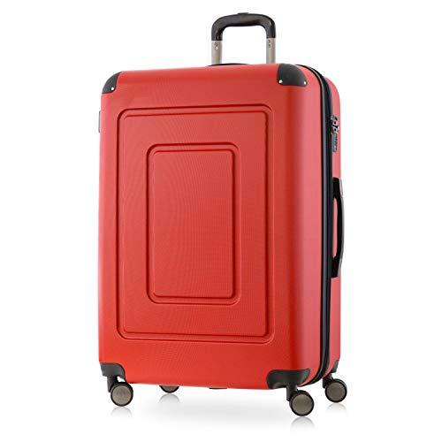 Happy trolley - lugano valigia trolley rigido grande abs tsa 4 ruote, l (76cm), 113 litres, rosso