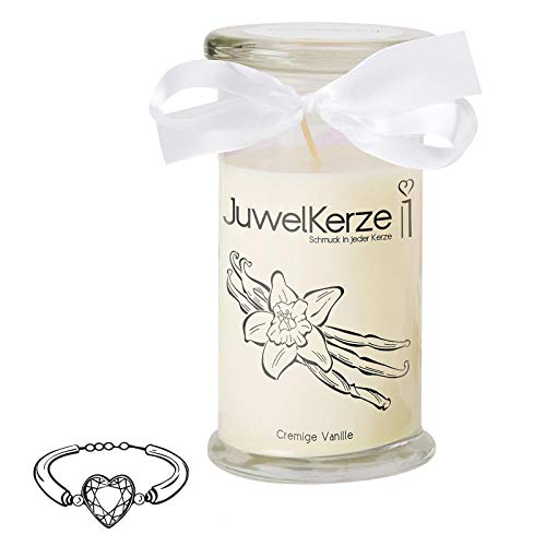 JuwelKerze Cremige Vanille - Kerze im Glas mit Schmuck - Große beige Duftkerze mit Überraschung als Geschenk für Sie (Silber Armband, Brenndauer: 90-120 Stunden)