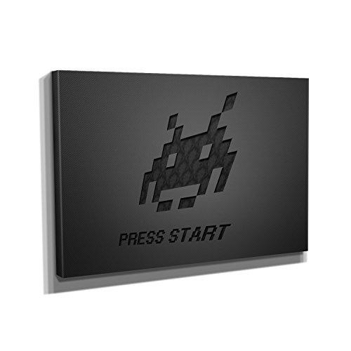 Press Start - Kunstdruck auf Leinwand (90x60 cm) zum Verschönern Ihrer Wohnung. Verschiedene Formate auf Echtholzrahmen. Höchste Qualität. Videospiel-leinwand