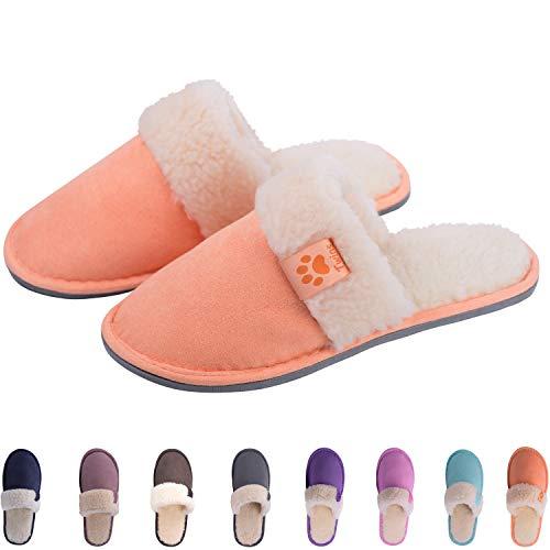TWINS Fashion « Riga » weich & warm gefütterte Damen Herren Nubuk Pantoffeln I Slippers I Fleece I Plüsch - Rutschfeste Hausschuhe Herbst & Winter (40, Orange) (Kitty-schuhe Erwachsene Hello Für)