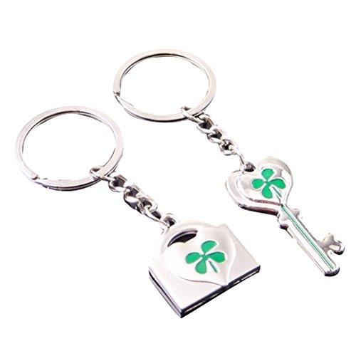 LUOEM 2 Stück vier Blatt Schlüsselanhänger Glücksklee Keychain Kleeblatt Charme Schlüsselanhänger für St. Patrick Day Geburtstag Freunde Urlaub Geschenk