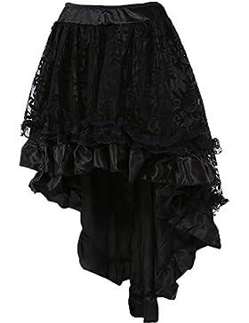 COSWE Damen Steampunk Gothic Vintage Mehrfarbig Lagig Chiffon Spitze Party Rock