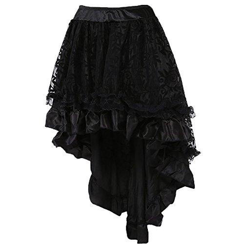 coswe-womens-solid-color-lace-asymmetrical-high-low-corset-skirt-plus-size-black-3xl