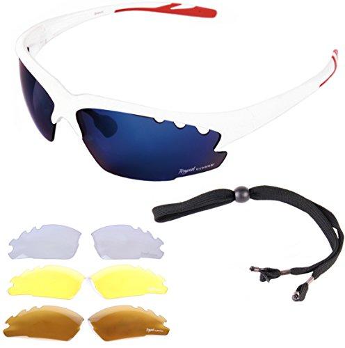 Rapid Eyewear Breeze Cycle weiß RADSPORTBRILLE - Wechselgläsern (blau verspiegelt, klar und polarisiert), auch Mountainbike, Joggen, Laufen, Triathlon sportbrille. UV Schutz 400. Für Herren und Damen