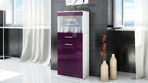 Tall Display Cabinet Cupboard Almada, Carcass in White matt / Front in Raspberry High Gloss