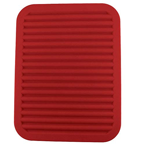 Silica Gel Pot Cushion, Heat Insulation Cushion, Food Cushion, Anti-Skid Cushion Plate, Bowl Cushion and Cup Cushion, Bright red (Square mat) -