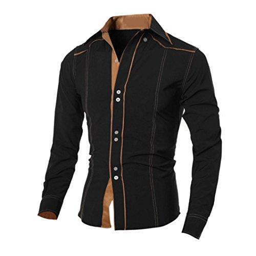 Herren Hemd,Sannysis Männer Casual Langarmshirt Top Bluse (XL, Schwarz)