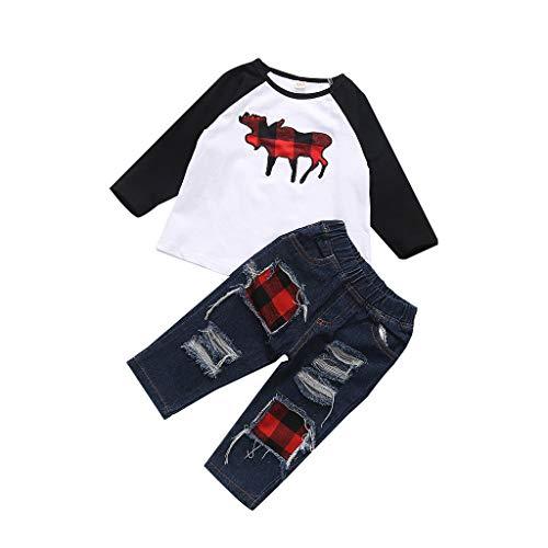 DIASTR Babykleidung Weihnachts Outfits Satz, Baby Mädchen Jungen Langarm T-Shirt Weihnachten Hirsch Tops +Denim Hosen 2 Stück Kleidung Satz Outfits Set (6-24monat)