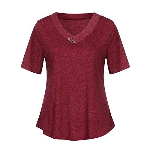 VEMOW Neue Design Lose Damen Frauen V-Ausschnitt Kurze Taste Sleeve Sommer Blusen Casual Tägliche Elegante Dünne Strand Henley Shirts(Rot, EU-46/CN-XL) (Flanell Shirt Henley Top)