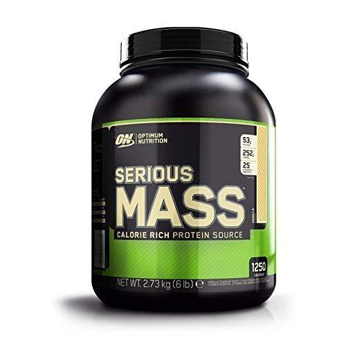 Optimum nutrition serious mass proteine whey in polvere per aumentare la massa muscolare, vaniglia, 8 porzioni (~2.73 kg)