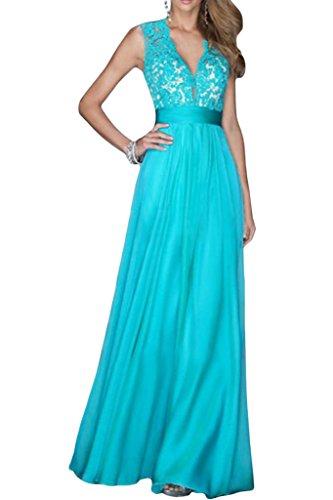 Ivydressing Damen Modern V-Ausschnitt Spitze Applikation A-Linie Chiffon Lang Festkleid Promkleid Ballkleider Abendkleid Blau