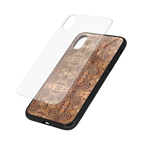 YESLIY Bubble Bash Marmorierte Hartglashülle für iPhone XS/X,Glasrückseitige Abdeckung [Imitiert die Glasrückseite des iPhone] + Weicher Silikonstoßdämpfer [Stoßdämpfung] für iPhone 5,8 Zoll