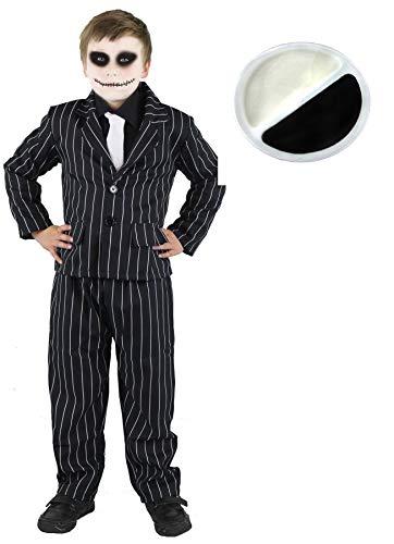ILOVEFANCYDRESS Kinder Jack Skellington KOSTÜM VERKLEIDUNG+ Make UP Halloween=BEINHALTET NADELSTREIFEN Anzug+WEISSEN Krawatte AN ELASTISCHEM Gummiband = XLarge (Halloween Gangster Make-up)