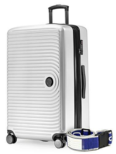 HAUPTSTADTKOFFER - Mitte - Grossa valigia a rotelle, Trolley rigido con estensione cinghia dei bagagli, TSA, 4 ruote doppie, 77 cm, 130 L, Bianco