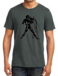[Sponsored]GeekDawn Men's Round Neck Birthday T-Shirt|Gifting T-Shirt|Sunsign T-Shirt-Aquarius, Charcoal Grey
