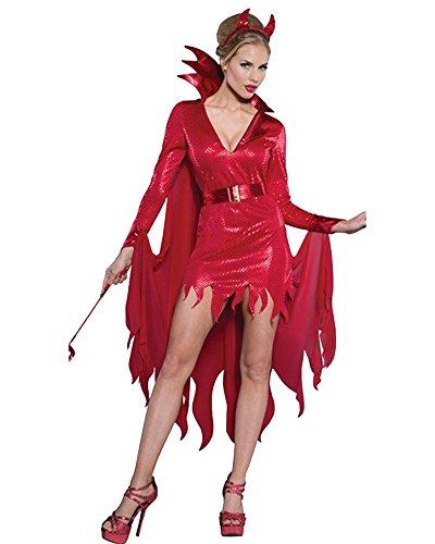 Hexenkostüm Und Hut Zauberin Feen Mittelalter Damen Horror Vampir Kostüm Halloween Outfit Karneval Rot 3343 XL (Rote Teufel Kostüm Halloween)