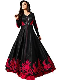 AnK Collection Women's Banglori Silk Black& Red Long Anarkali Style Semi Stitched Salwar Suit With Dupatta