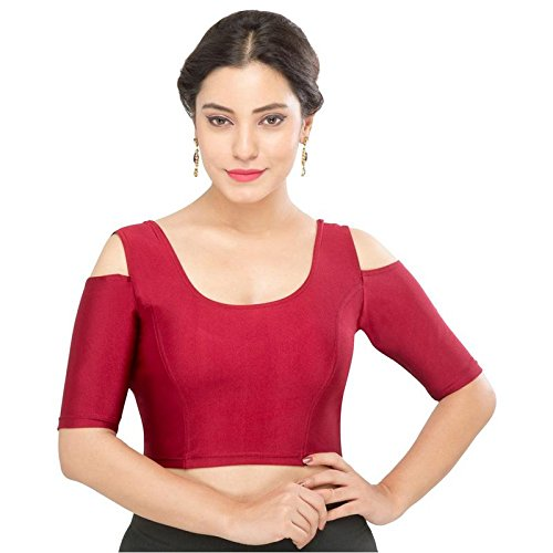 Vamas Strech-Velvet Non-Padded Stretchable Elbow Length Sleeves Saree Blouse ( A-48 )