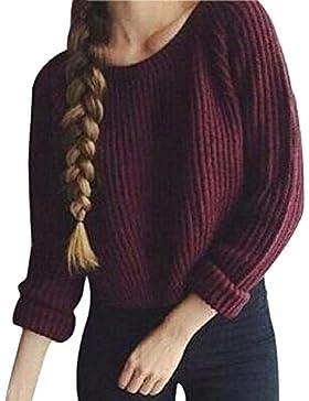 Mujer Jersey De Punto Corto Invierno Otoño Manga Larga Cuello Basic Ropa Redondo Jerséis Elegante Moderno Moda...