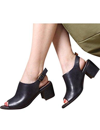 Youlee Femmes Été Sandales à talons hauts Chaussures en cuir Gris foncé