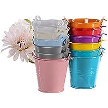 Hrph 12pcs regalos coloridos dulces mini favores del banquete de boda compartimiento del metal caja pail