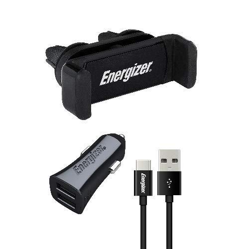 Energizer CKITB2CLI3 - Kit Universale per Auto, con Clip a 360°, Caricatore con Cavo USB-C, 2 USB, 3, 4 A, Presa accendisigari e Ricarica Rapida, Colore: Nero