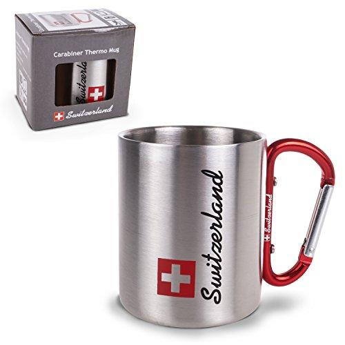 TopSpirit® Doppelwandige Edelstahltasse Thermobecher Switzerland mit Karabiner - Edelstahl Tasse - Thermotasse silber 180 ml