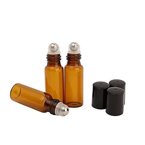 10 x 5 ml Bernstein Glas Leer Wiederauffüllbar Rolle Flaschen Mit Metall Rolle Und Schwarz Kappen Für Parfüm Wesentlich Öl