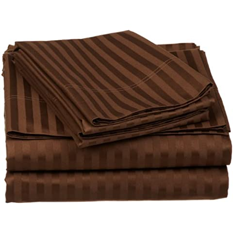 Impressions 650 fili, tasca profonda, a strato singolo, a strisce, in cotone egiziano, cioccolato, California King, 4 pezzi