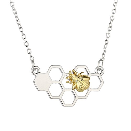 Hosaire 1 pcs Necklace Fashion Amazon Explosion Honeycomb Honey Bee Pendant Real Gold Color Animal Necklaces